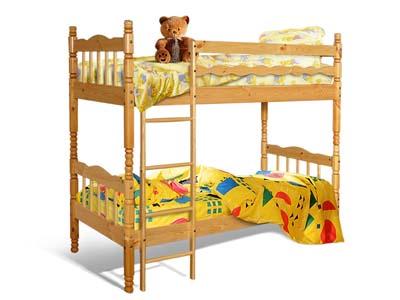 Кровать двухярусная массив точеная